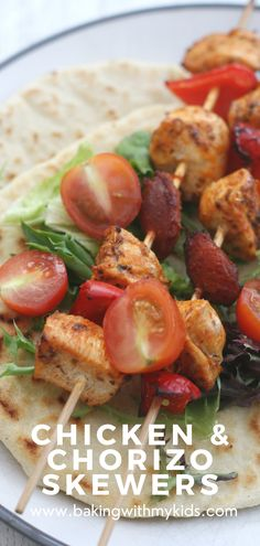 Chicken and chorizo skewers are a delicious but easy dinner. They're perfect on the barbecue or grilled in the oven. #chicken #kebab #chorizo #bbq #skewers #family meal #easy dinner #baked #easy recipe Chicken Chorizo, Chorizo Sausage, Chicken Kebab, Oven Chicken, Quick Weeknight Dinners, Easy Family Dinners, Barbecue, Grilling, Bbq Skewers