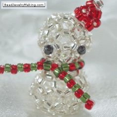 Christmas Beading...Snowman tut...Think I would use white beads instead of the clear ones...
