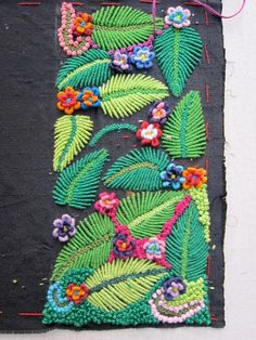 Pretty leaves made from bullion knots and surrounded by French knots ...
