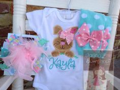 Super cute!! Baby+Girl+Easter+Outfit++Hippity+Hop++by+DarlingLittleBowShop,+$59.95