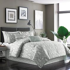 Soft and stylish, the Dansk Henrik 7-Piece Comforter Set features a beautiful etched ogee pattern in tones of sage and ivory. The elegant bedding is finished with throw pillows, shams, and bed skirt for a tailored look.