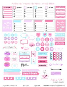 Fuzzy Pink Planner Stickers - preview