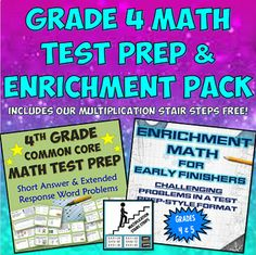 Our Grade 4 Common Core Math Test Prep and Enrichment Pack for Early Finishers includes two of our more popular 4th Grade Math teacher resources along with our new Multiplication Stair Strips product FREE and included in this bundle!