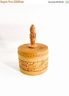 ON SALE TODAY Boho Box wooden Vintage light Wood Box floral  patterns hand carved wood man finial trinket box