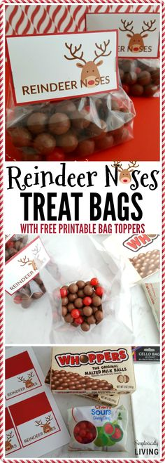 Reindeer Noses Treat Bags (With Free Printable) via @simplistcliving