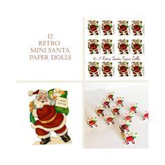 "Retro Mini Santa Paper Dolls Christmas Printable Vintage 2"" Santa Cut Outs Digital Download Holiday Craft Mini Christmas Decor Doll House by mindfulresource on Etsy"