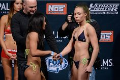 LAS VEGAS, NEVADA - DECEMBER 11: (L-R) UFC straw weights Carla Esparza and Rose Namajunas face off during The Ultimate Fighter Finale weigh-ins at the Palms Casino Resort on December 11, 2014 in Las Vegas, Nevada. (Photo by Jeff Bottari/Zuffa LLC/Zuffa LLC via Getty Images) Rose Namajunas, Carla Esparza, December 11, Face Off, Palms, Ufc, Weights, Nevada, Martial Arts