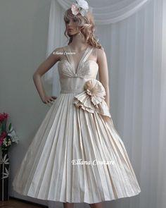Margaret - Retro Style Dupioni Silk Wedding Dress. Vintage Inspired Tea Length.. $575.00, via Etsy.