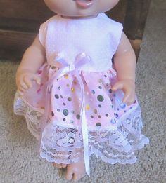 """Doll Clothes 13"""" Baby Alive Bitty Baby Boutique Dress Pink Polka-Dot Dress12-13""""  