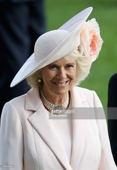 Camilla, Duchess of Cornwall, wearing Philip Treacy, on the fourth day of Royal Ascot at Ascot Racecourse on June 2016 in Ascot, England. (Photo by Chris Jackson/Getty Images) Royal Ascot, Royal C, Windsor, Philip Treacy Hats, Camilla Duchess Of Cornwall, Camilla Parker Bowles, Elisabeth Ii, Royal Tiaras, Herzog