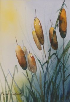 Beverly Cathcart | PierScape Watercolor Plants, Watercolor Leaves, Watercolour Painting, Floral Watercolor, Watercolours, Watercolor Pictures, Arte Floral, Cat Tails, Landscape Art