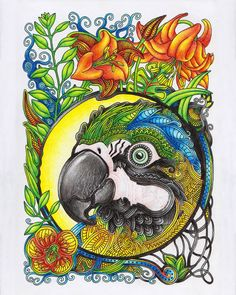 Антистресс раскраски для взрослых. Арт-терапия Adult Coloring, Coloring Books, Book Pages, Fantasy Art, Rooster, Artwork, Animals, Ideas, Coloring Pages