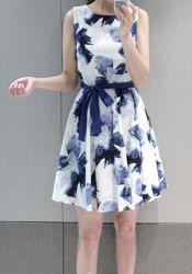 Stylish Scoop Neck Floral Print Lace-Up A-Line Sleeveless Dress For Women