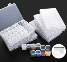 2Pack Big 28 Grids Diamond Painting Box Embroidery Diamond Art Storage Containers 5D Diamond Bead Organizer with 112 Label Stickers