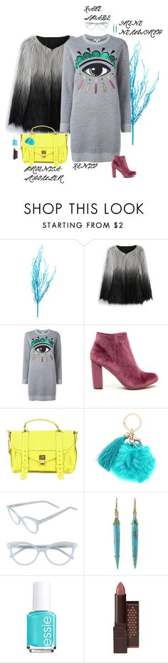 """Sweatshirt Dress"" by sophie-poualion ❤ liked on Polyvore featuring Chicwish, Kenzo, Proenza Schouler, Kate Spade, Irene Neuwirth, Essie and Burt's Bees"