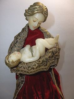 Vintage German WAX ANGEL With BABYJESUS Christmas Tree Topper  BIEDERMANN 14""