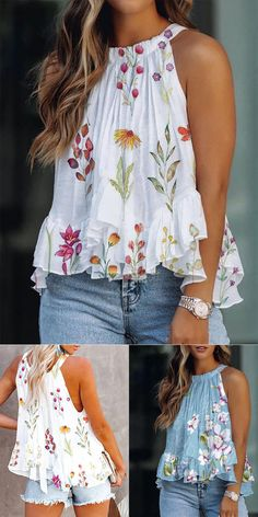 Trendy Summer Outfits, Pretty Outfits, Cool Outfits, Casual Outfits, Fashion Outfits, Stitch Fix Outfits, Floral Sleeve, Scarf Styles, Refashion