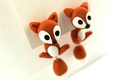 1 Paar Ohrstecker Fuchs/Füchse mit swarowski Augen   Bitte schreibe mir einfach, was du dir wünscht und ich fertige es dann für dich an!    ...