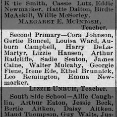 Reno Gazette-Journal, 4 Dec 1886, Sat, Main Edition  Gertrude Buncel (Gertie) makes honor roll