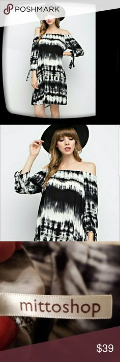 🖤❤BOHO TIE DYED DRESS ❤🖤 BOHO BLACK/WHITE  AND GREY TIE DYED DRESS! WEAR ON OR OFF THE SHOULDER  SIZE LARGE  NWOT BUST MEASURES 20 INCHES LAYING FLAT  ARM LENGTH 11 INCHES  DRESS LENGTH 31 INCHES FROM MIDDLE OF NECK! REALLY COMFY AND SOFT 100% RAYON WEAR WITH TALL BOOTS ! Mittishop Dresses