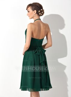 A-Line/Princess Scoop Neck Knee-Length Chiffon Bridesmaid Dress With Ruffle Bow(s) (007025846)