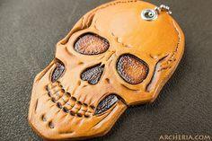 Schädel Totenschädel Schlüsselanhänger Leder von ARCHERIA auf Etsy