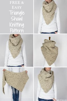 FREE Triangle Shawl Knitting Pattern Just when I thought a triangle shawl couldn t get any easier Start at the tip repeat 4 rows until it s as big as you d like it to be bromefields freeknittingpattern garterknitstitch beginnerknittingpattern Free Knit Shawl Patterns, Crochet Cowl Free Pattern, Crochet Snood, Scarf Patterns, Knit Cowl, Hand Crochet, Diy Finger Knitting, Free Knitting, Knitting Stiches