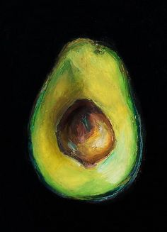 Avocado----Giclee, Archival, Matted Print of an Original Oil Pastel Painting of an Avocado Half with Pit via Etsy