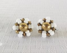 50s 60s Vintage Milk Glass and Gold Tone Bead by MyVintageHatShop