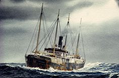 "Tramp Freighter | DOROTHY WINTERMOTE"" - Watercolor, in Tramp Freighter Paintings"