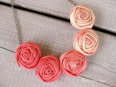 Mini Rosette Necklace Statement Necklace Rosette by SweetCamiJayne