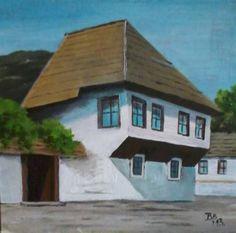 An typical Bosnian house, Sarajevo, acrylic, 20 x 20 cm by Biljana Bodul