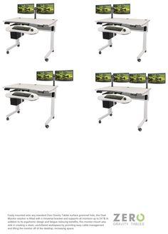 Its ergonomic design and fatigue-reducing benefits, this monitor mount also aids in creating a clean, uncluttered workspace by providing easy cable management and lifting the monitor off of the desktop, increasing space. #dualmonitor #zerogravitytables #adjustableheight #sittostand #customize #custom #ergonomic #computertable #electriclift #standingdesk #desk
