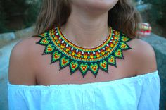 Beautiful Huichol beaded necklace with earrings included. Necklace is long and wide. Earrings are : long Made by huichol people from Nayarit Mexico. Seed Bead Necklace, Seed Bead Jewelry, Bead Jewellery, Beaded Jewelry, Beaded Necklace, Crochet Necklace, Beaded Chocker, Beaded Collar, Collar Necklace