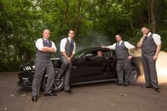 Wedding day Ford Mustang Burnout with groomsmen. #weddingideas #weddings #groomsmen ideas