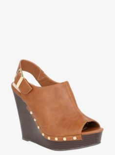 Studded Faux Leather Slingback Wedge (Wide Width) So cute!!!