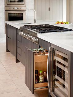 Kitchen Island Storage Ideas - Better Homes and Gardens - BHG.com I think I want part of the kitchen to look like this...