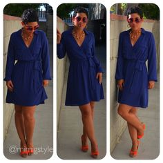 Love the pop of color with the shoes. Navy dress with orange shoes. Great traveling outfit.