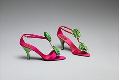 Shoes, Evening  House of Dior  (French, founded 1947)  Designer: Roger Vivier (French, 1913–1998) Date: 1958 Culture: French Medium: silk, leather, glass Dimensions: Length: 8 5/8 in. (21.9 cm) Height (of heel): 3 3/4 in. (9.5 cm) Credit Line: Gift of Valerian Stux-Rybar, 1979