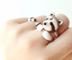 Raccoon 3 Piece Ring Set Enamel ring Animals by MaryLouBangkok