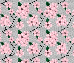 Pink Flowers on Gray Echoes fabric by leah_day on Spoonflower - custom fabric