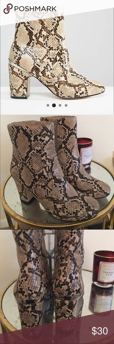 """ASOS RAMERO ANKLE BOOT BOOTS by ASOS COLLECTION Snakeskin-style faux leather upper Side zip Round toe Mid-height block heel Wipe with a soft cloth Heel height: 7cm/3"""" WORN ONCE, perfect condition, no trades please. ASOS Shoes Ankle Boots & Booties"""