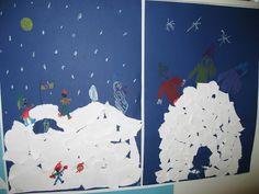 Vaikka lunta on paljon, lumilinnoja ei kovien pakkasten takia ole päästy tekemään. Kuvaamataidon tunnilla revimme valkoisesta paperista lu...