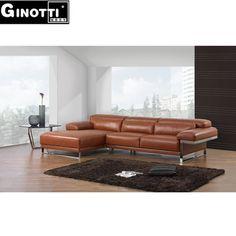 Orange color flexform style half leather sofa