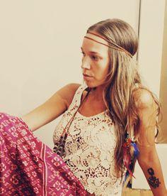 Handmade Brown Leather Hippie Feather Headband, Tie Headband, Wear It Many Different Ways. $18.00, via Etsy.