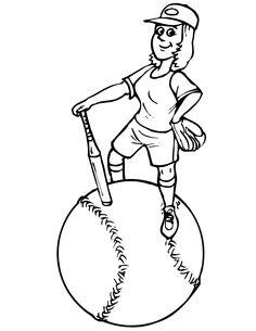 girl baseball coloring pages