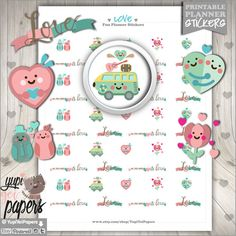 Valentines Day Stickers, Printable Planner Stickers, Love Stickers, Heart Stickers, Planner Accessories, Aniversary Stickers, Stamps