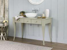 New Bosa 112 vanity in Light Grey with Drayton 40 basin and Staffordshire 11 tap in Polished Chrome finish Door Furniture, Chalk Paint Furniture, Bathroom Furniture, Victoria And Albert Baths, Bath Uk, Glass Bathroom, Bathroom Ideas, Luxury Living, Interior Design Inspiration