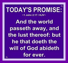 1 John 2:17 KJV ~  And the world passeth away, and the lust thereof: but he that doeth the will of God abideth for ever.