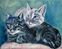 Two cats on the pillow is a painting based on a photo taken by me, they are  Romeo and Smocke. The Pasqualino friends, my cat. Surprised to scrutinize something interesting ... maybe a mouse or a b...
